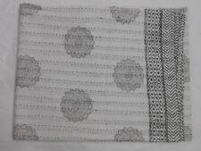 Indian White Twin Quilt Kantha Bedspread Throw Cotton Blanket Gudari Handblock