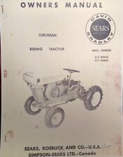 Sears David Bradley 725 Suburban Riding Garden Tractor Owner & Parts Manual 30pg