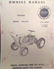 Sears David Bradley 725 Suburban 91760624 Garden Tractor Owner Amp Parts Manual