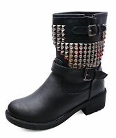 LADIES FLAT BLACK ZIP-UP MILITARY COMBAT BIKER ANKLE CALF STUD BOOTS SHOES 3-8