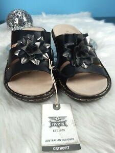 RIVERS OrthoFit. Black Mule Slip On Sandals. gold&black flower