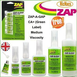 ZAP-A-GAP CA+ Glue (Green Label) Medium Viscosity Fills Gaps Models Repairs Diy