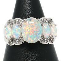 5 Ct Oval White Opal Solitaire Ring Women Jewelry Gift 14K White Gold Plated