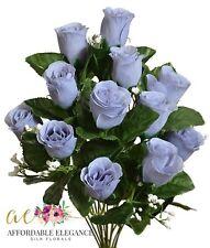 14 Dusty Blue Artificial Rose Buds Silk Fake Flowers Bouquet Bush Silver Blue