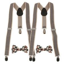 2Sets Boys Adjustable Suspenders   Braces Belts with Plaid Bowties Set