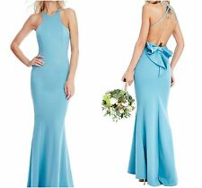 NEW ELEGANT BOW DETAIL BLUE WEDDING SPECIAL OCCASION PARTY MAXI DRESS UK12