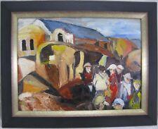 Blume Katharina Gemälde 1979 Südliche Szene Dorf / Häuser mit Personen