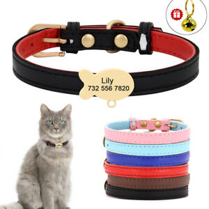Personalised Leather Pet Dog Cat Collars and Tag Bell Adjustable Free Engraving