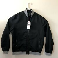 First Class LON NYC Across The Pond  Mens Large Windbreaker Jacket Black NWT