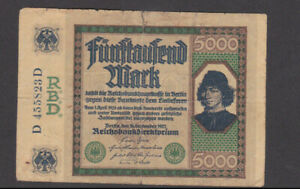 5000 MARK VG BANKNOTE FROM GERMANY 1922 PICK-77 RARE ISSUE