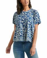 Lucky Brand Printed Raglan-Sleeve Top Blue SIZE XL NEW