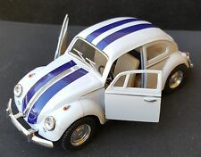 Kinsmart 1967 Classic VW Volkswagen Beetle Bug 1:32 White with Blue Stripes