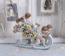 Porzellangruppe Engel Schlitten Porzellan Vintage Engelfigur antik