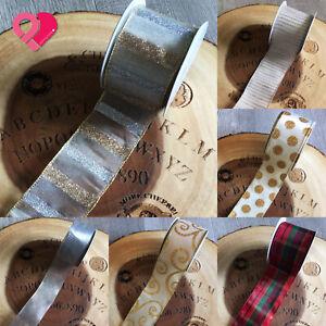 "2.5"" Wired Ribbon Gold Silver Glitter Stripes Ivory Metallic Sheer Organza 10 yd"