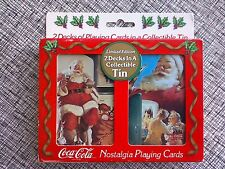 New 2 Decks Playing Cards in Tin 1996 Coca Cola Limited Edition Santa