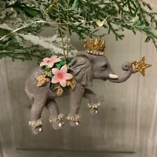 Resin Grey Elephant Christmas Tree Decoration Gisela Graham Flower Princess