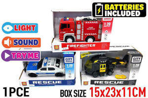 1 pce Rescue Vehicle Friction with light & sound Car Helicopter Firefighter Gift