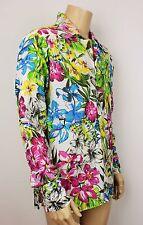 Mens Vintage 70s Style Dagger Floral Crazy Fresh Prince Festival Boho Shirt S/M