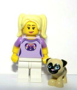 Lego Female Girl Minifigure Blonde Hair  Reversible Head & Pug Dog Puppy