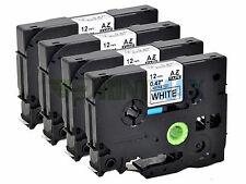 4 PK TZe-231 for Brother Label Tape  Black on White 12mm PT-D210  PT-D600