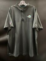 MIAMI DOLPHINS TEAM ISSUED DARK GRAY DRI-FIT NIKE COACHES SIDELINE POLO  SZ-XXXL
