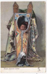 OLD POSTCARD OF INDIAN BABY  KIOWA PAPOOSE ASLEEP  ADDRESSED NOVA SCOTIA CANADA