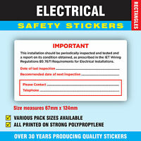 Pack of 200 Inspect BS 7671  Strong Electrical Safety Stickers Labels 67 x 124mm