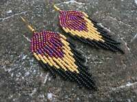 beaded earrings, Native american style Beadwork, native style earrings, seed bea