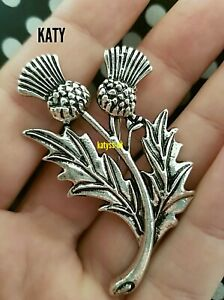 Silver Tone Vintage Style Thistle Flower Brooch Pin Gift Scottish Celtic Broach