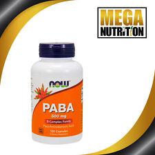 NOW Foods PABA 500mg 100 Capsules | High Strength Complex Vitamin B Antioxidant