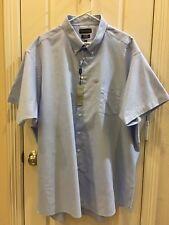 Covington Mens Button Down Short Sleeve Shirt,Blue 3XL