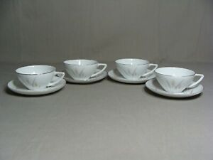 4 Fine China Of Japan Cups & 4 Saucers In The Platinum Wheat Pattern