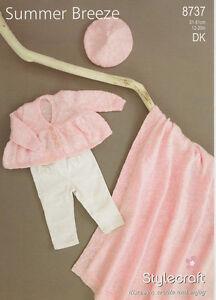 Stylecraft babies jacket beret & blanket Knitting pattern 8737