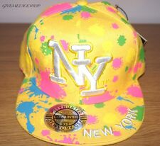 NY SPLASH FITTED CAP, PAINT BLING FLAT PEAK HAT, HIPHOP BASEBALL YELLOW BRIM
