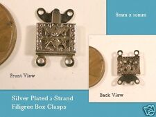 Silver Plated 2-Strand Filigree Box Clasps 8mm x 10mm 2 pairs
