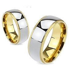 Titanium Bridal Wedding Band Polished Center With Gold Plated Grooved Edges Ring