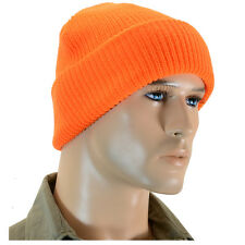Orange Winter Watch Cap - Beanie Woollen Bobble Hat Knitted Military Army New