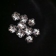 100 X Silver Tone Flower Bead Caps Findings 10mm X4mm