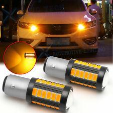 LED 1157 7528 Turn Signal Marker Parking Light Bulb Amber Yellow Blinker Lamp 2x