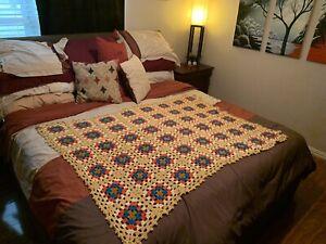 """Vtg Granny Crochet AFGHAN Blanket Throw 60"""" x 50"""" Mustard Yellow Flower Squared"""