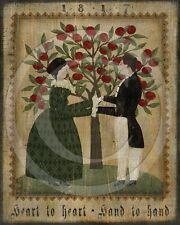 Primitive Fraktur Folk Art Hand to Hand Heart to Heart Valentine Print 8x10