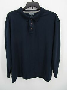 Duluth Trading Co Mens Navy Blue Collared Button Long Sleeve Polo Shirt Size XL
