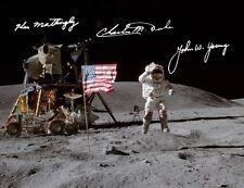 Apollo 16: Ken Mattingly, John Young, Charles Duke, REPRO-AUTOGRAFO, 20x26 cm