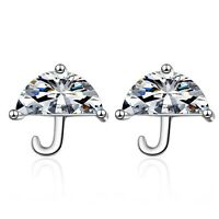 Stunning Umbrella Stud Earrings 925 Sterling Silver Womens Girls Jewellery Gift