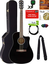 Fender CD-60SCE Dreadnought Acoustic-Electric Guitar - Black w/ Hard Case
