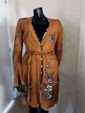 Roberto Cavalli long sleeve leather coat with rose embroidery NEW W/TAGS!! Large