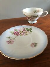 Vintage Demitasse Tea Cup and Saucer, Enameled Floral, Gold Gilt, Signed by Arti