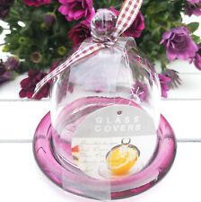 Glashaube Haube Glasdom Glaskuppel Gloche lila Rosa Glocke Glassturz Glasglocke