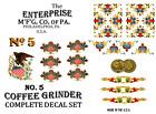 Enterprise MFG. Co. No. 5 Coffee Grinder Mill Restoration Decal Set
