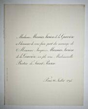 MASSIAS JURIEN DE LA GRAVIERE Beatrix de Saint Pereuse FAIRE PART MARIAGE 1893